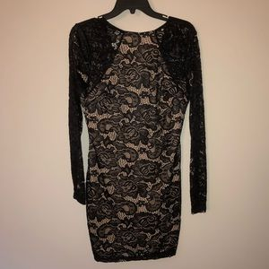 Long sleeve black and nude lacy NWT dress